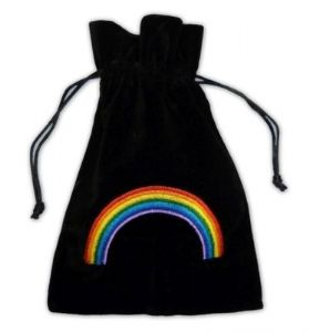 Velvet Tarot Card Bag: Black with Rainbow design